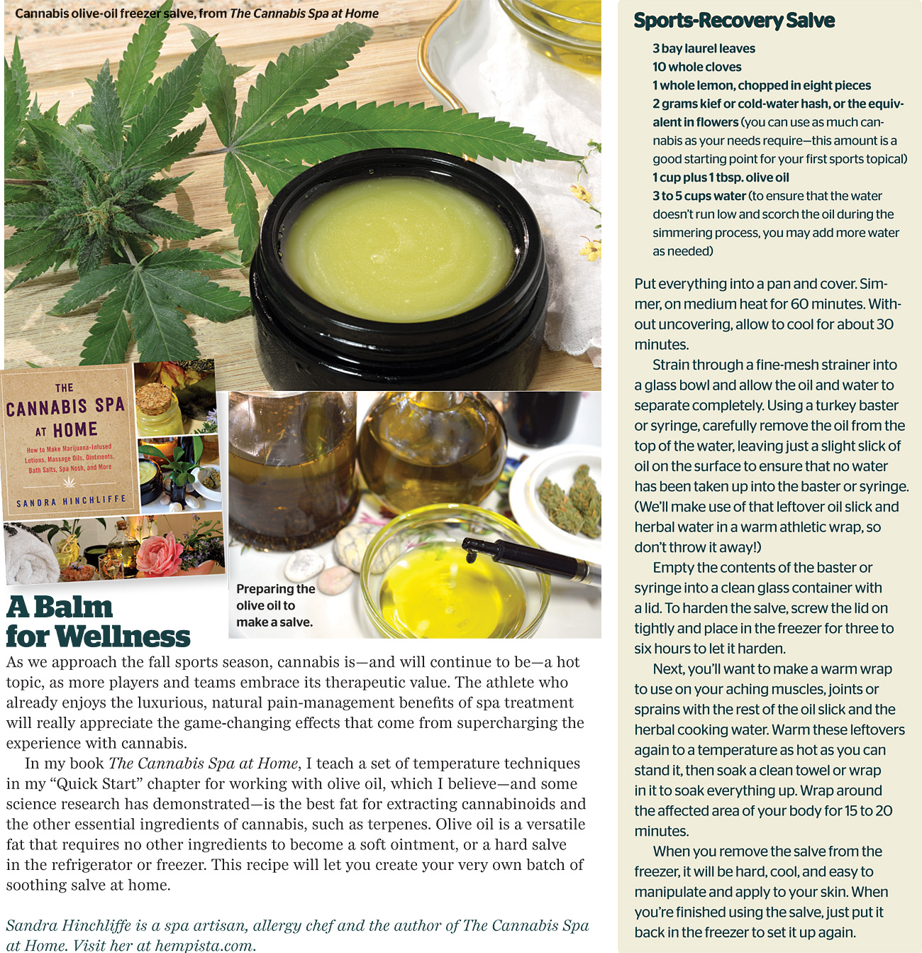 Cannabis Sports Recovery Salve Recipe–Featured in August 2016 High Times!